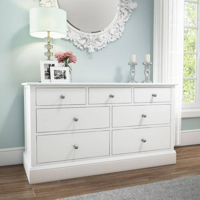 Harper White Solid Wood 4 3 Wide Chest Of Drawers Furniture123