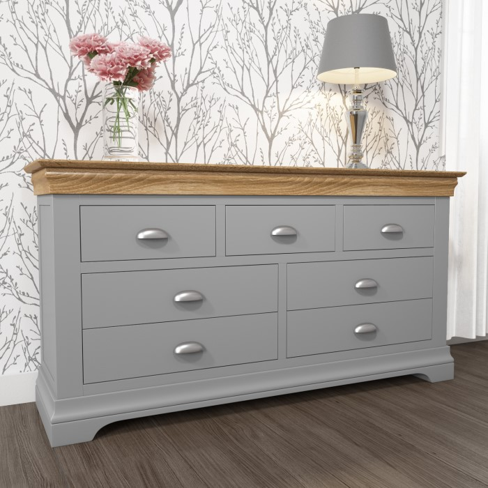 Chest Of Drawers.Loire Two Tone Wide Chest Of Drawers In Grey And Oak