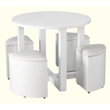 Seconique Charisma White Gloss Dining Set + 4 Stowaway Dining Chairs