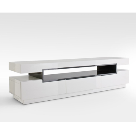 GRADE A2 - Evoque Rectangular High Gloss White TV Unit with Grey Gloss Detail
