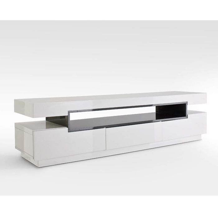 Tv Tables Menard High Gloss Tv Unit: Evoque Rectangular High Gloss White TV Unit With Grey