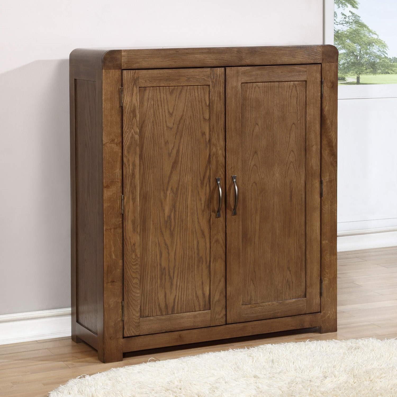 Windsor Solid Dark Oak Shoe Storage Cupboard With 4 Shoe