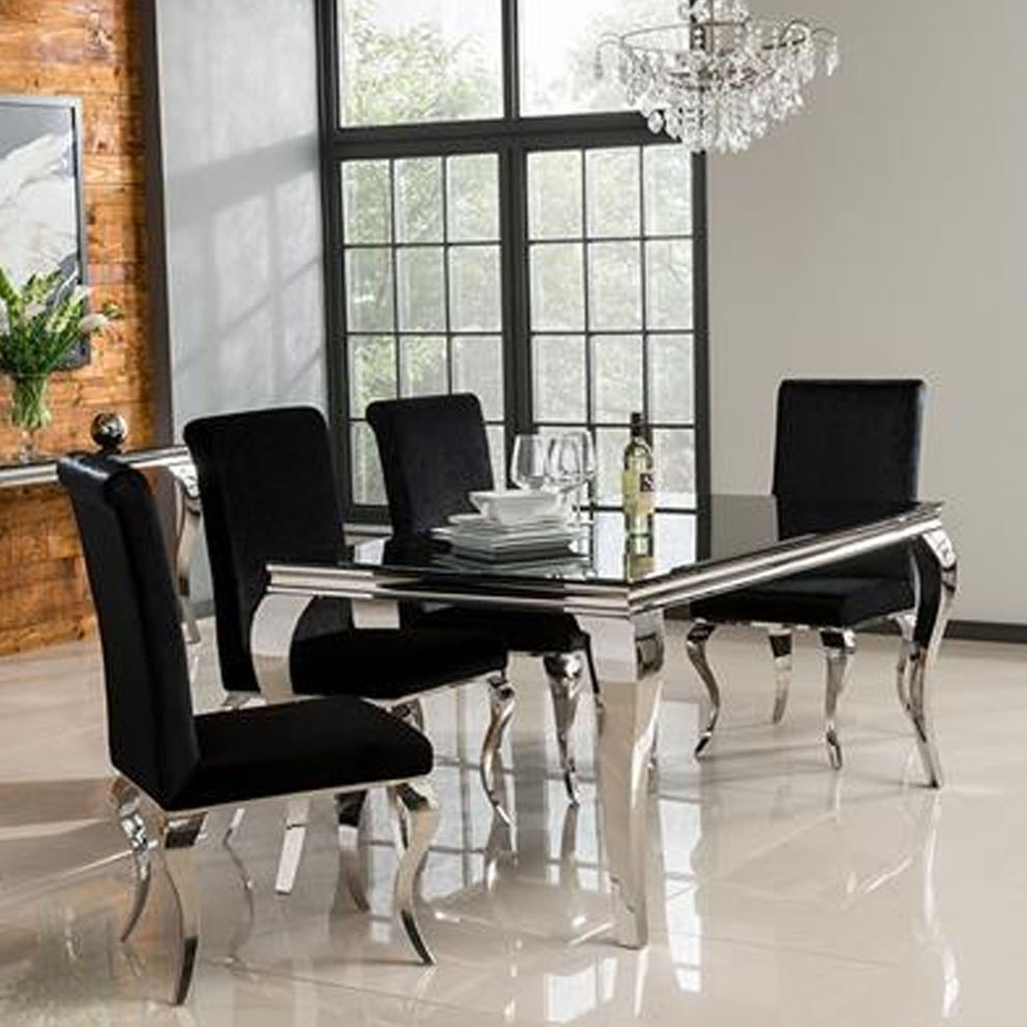 finest selection 2e284 4ffd5 Louis Mirrored 160cm Dining Table in Black - Vida Living - Seats 4-6