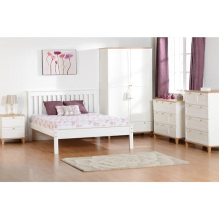 Seconique Arcadia 2 Drawer Bedside Table in White and Ash Wood