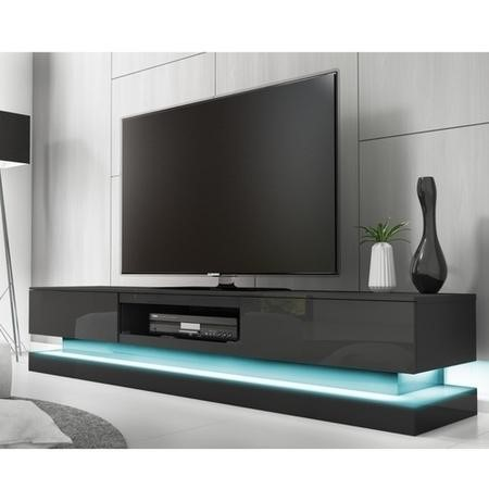 Evoque Large Grey High Gloss TV Unit with Lower LED Lighting - TV's up to 70""