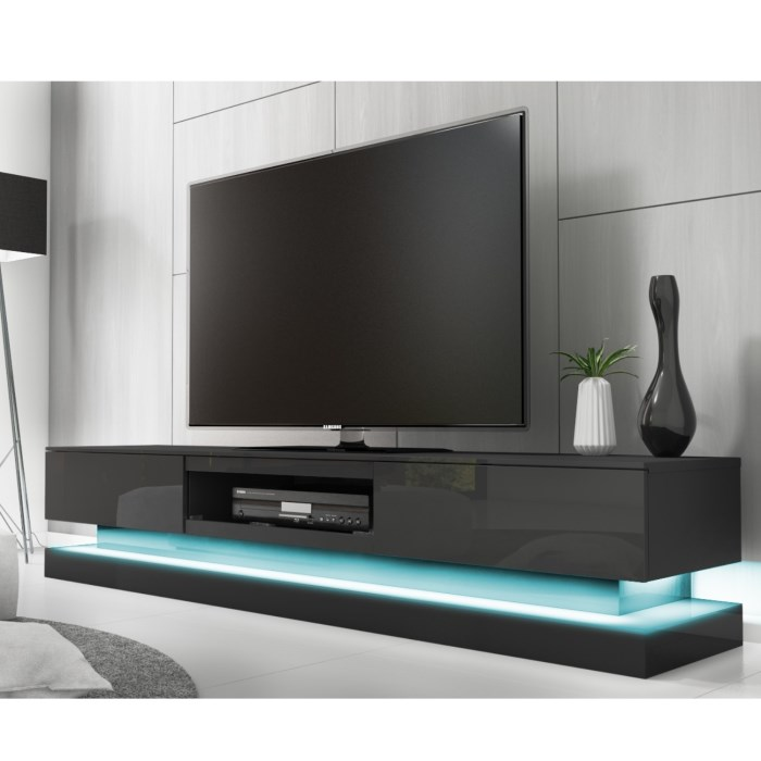 Evoque Large Grey High Gloss TV Unit With Lower LED