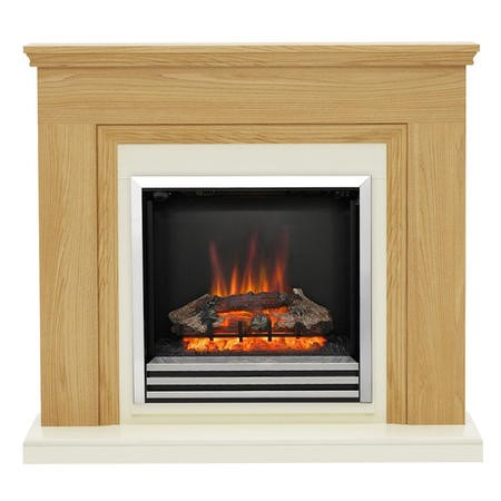 BeModern Stanton Oak Finished Fireplace Suite with Electric Fireplace Insert