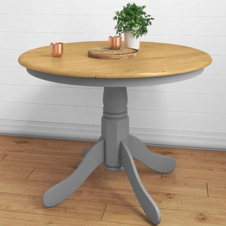 GRADE A1 - Rhode Island Round 4 Seater Dining Table in Grey