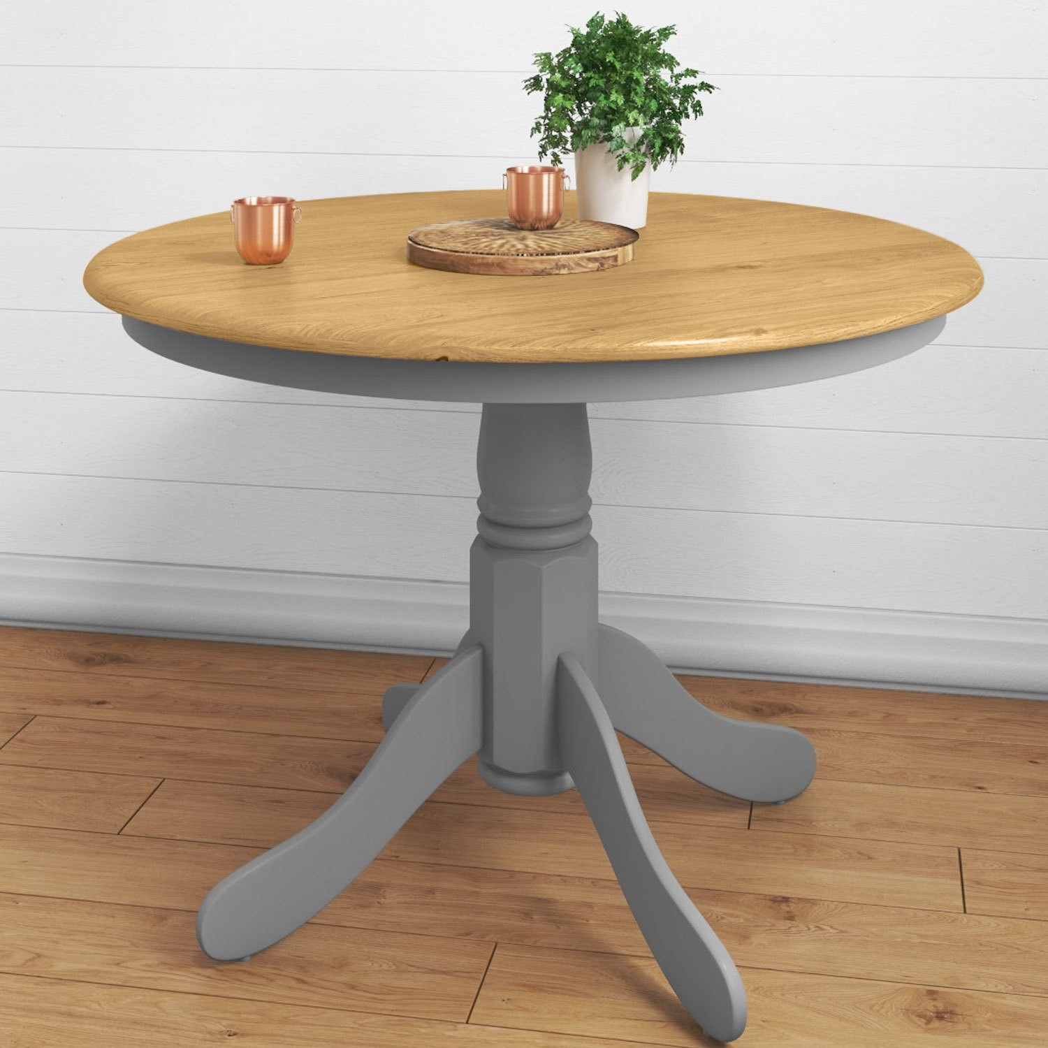 Small Round Dining Table In Grey Oak Finish Seats 4 Rhode Island Furniture123