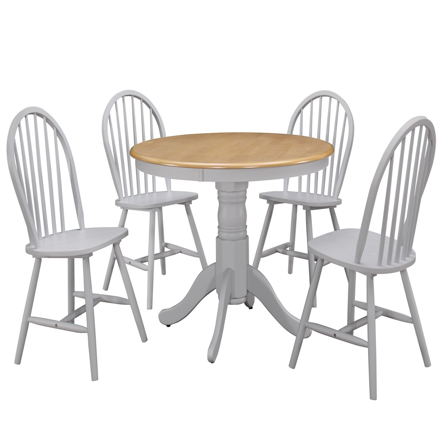 Rhode Island Round Dining Table with 4 Chairs in /& Grey with Oak Finish