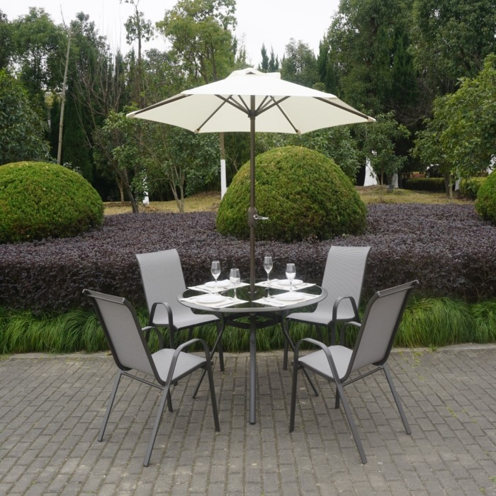 Grey Metal 4 Seater Garden Furniture Dining Set Parasol Included
