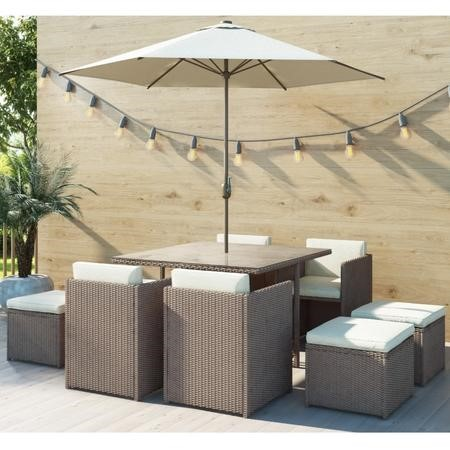 Brown Rattan 10 Piece Garden Furniture Set – Dining Cube – Cream Parasol Included