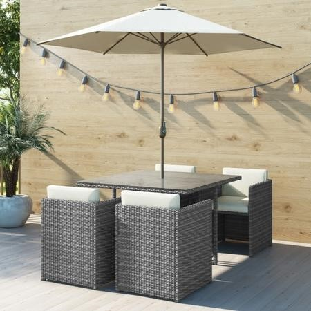 Grey Rattan 6 Piece Cube Garden Furniture Dining Set – Parasol Included