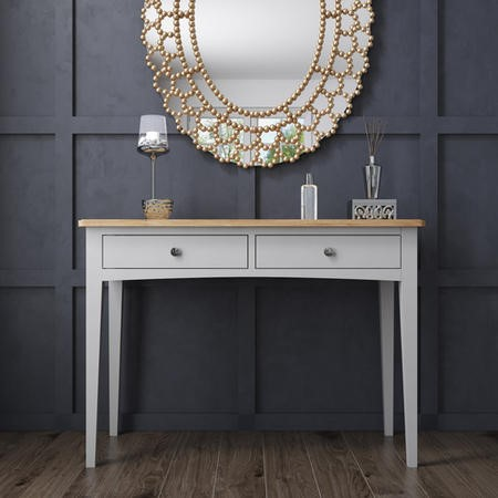Darley Two Tone Dressing Table in Solid Oak and Light Grey