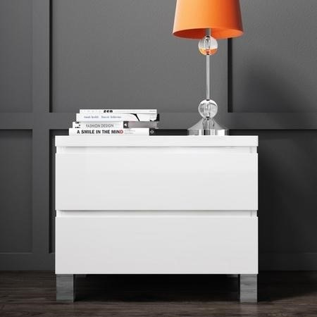 Jenson White High Gloss 2 Drawer Bedside Drawers