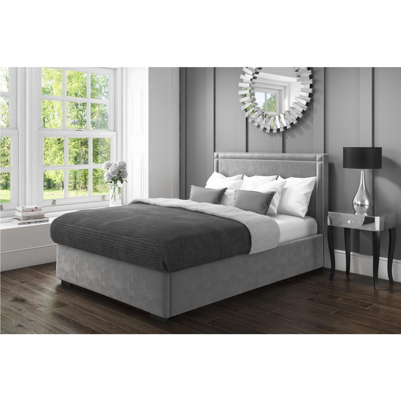 Fantastic Safina King Size Ottoman Bed With Stud Detailing In Grey Velvet Creativecarmelina Interior Chair Design Creativecarmelinacom