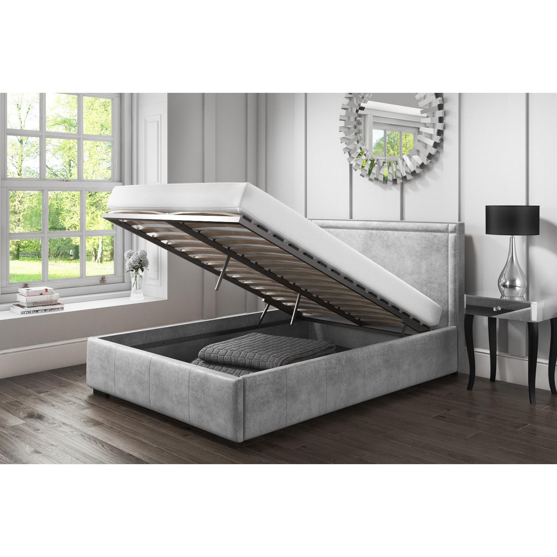 Admirable Safina King Size Ottoman Bed With Stud Detailing In Grey Velvet Creativecarmelina Interior Chair Design Creativecarmelinacom