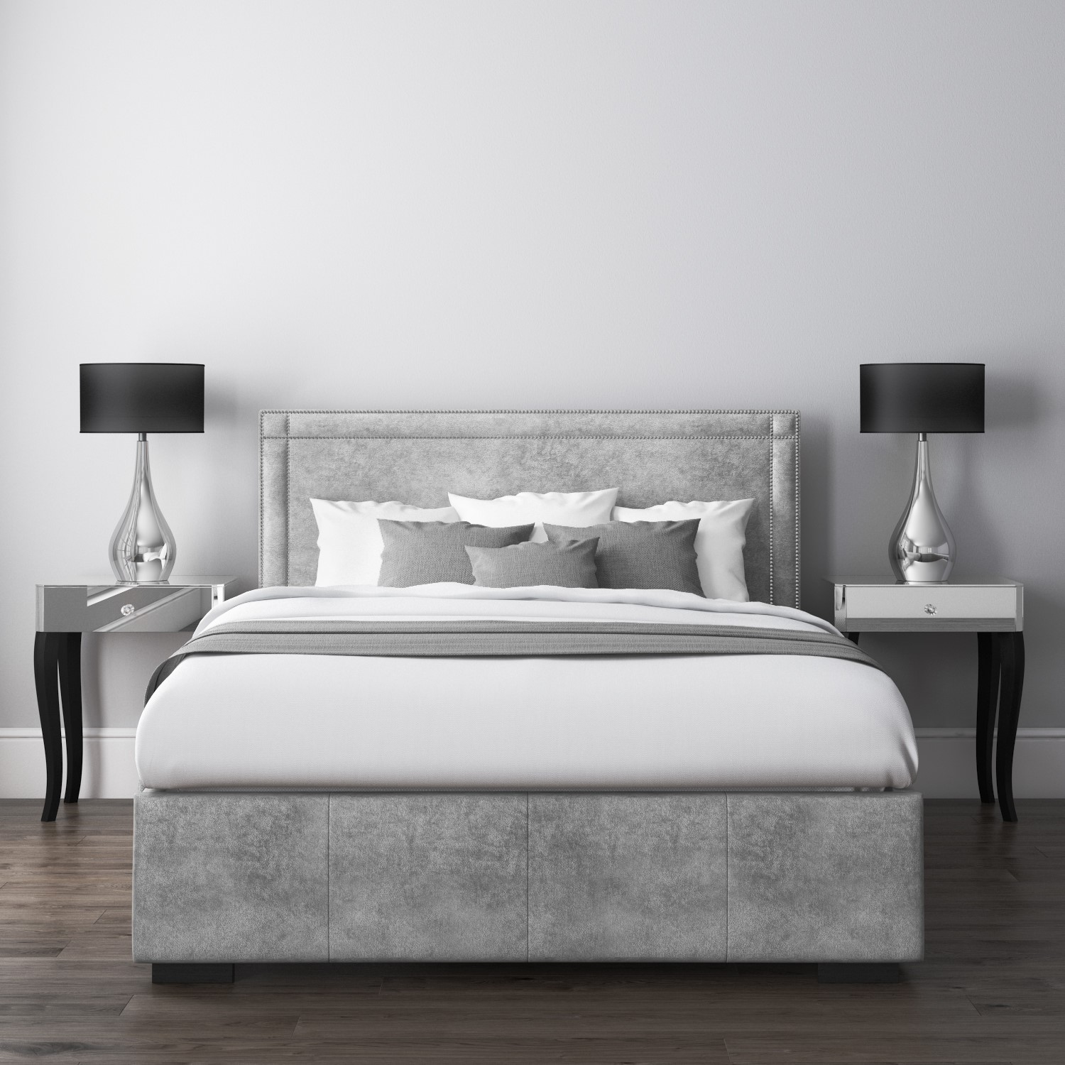 Incredible Safina King Size Ottoman Bed With Stud Detailing In Grey Velvet Creativecarmelina Interior Chair Design Creativecarmelinacom