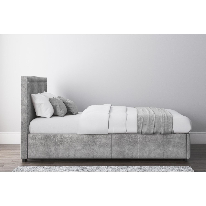 Pleasant Safina King Size Ottoman Bed With Stud Detailing In Grey Velvet Creativecarmelina Interior Chair Design Creativecarmelinacom