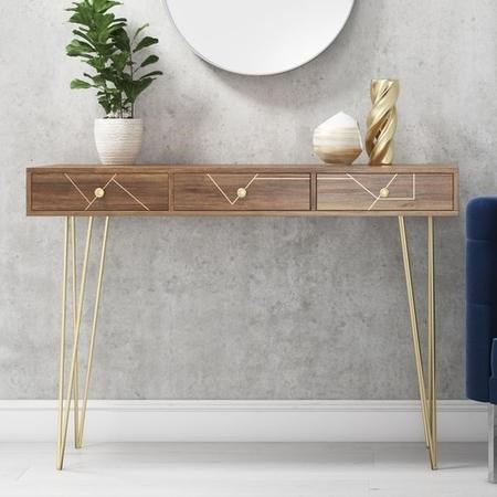 Solid Wood Storage Dressing Table with Brass Inlay & 3 Drawers - Tahlia Range