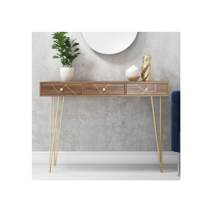 Solid Wood Storage Console Table With Brass Inlay 3 Drawers