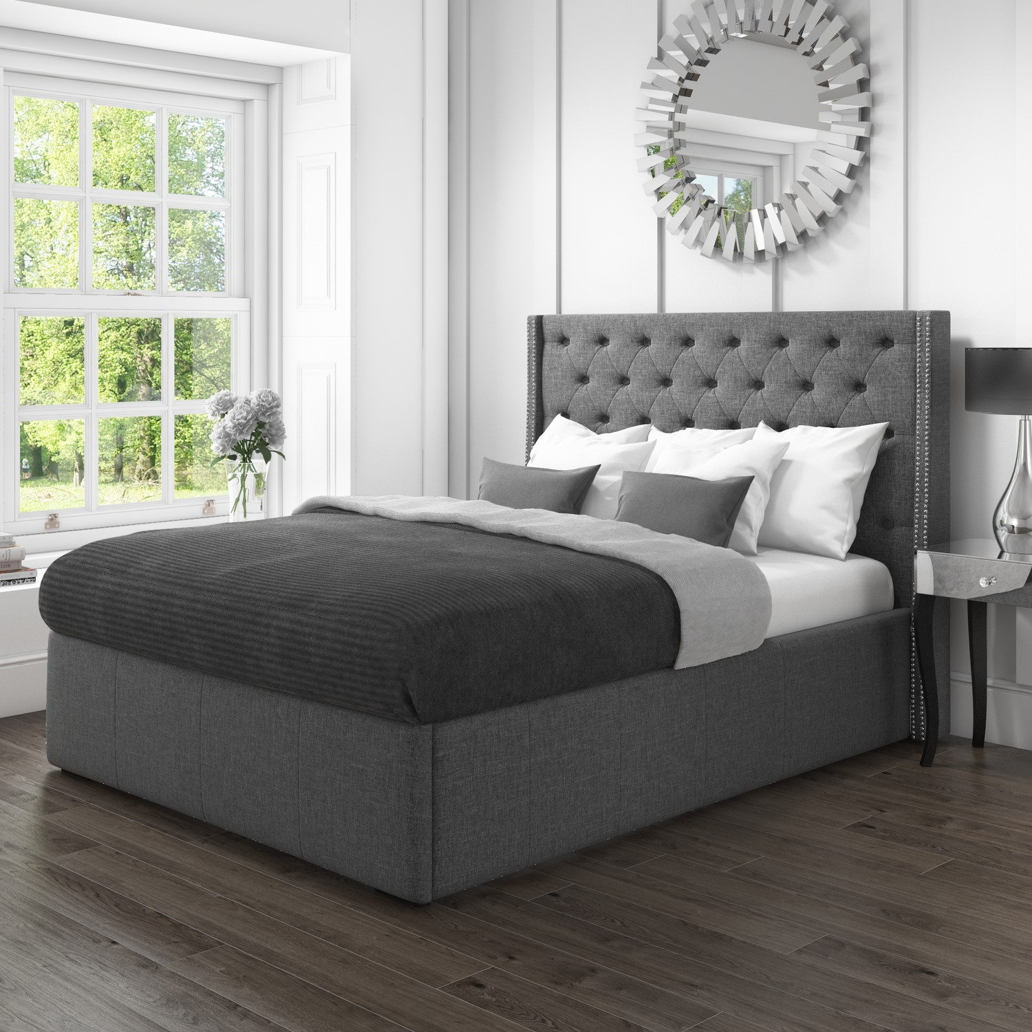 Safina King Size Wing Back Bed with Stud Detail in Woven Grey Fabric
