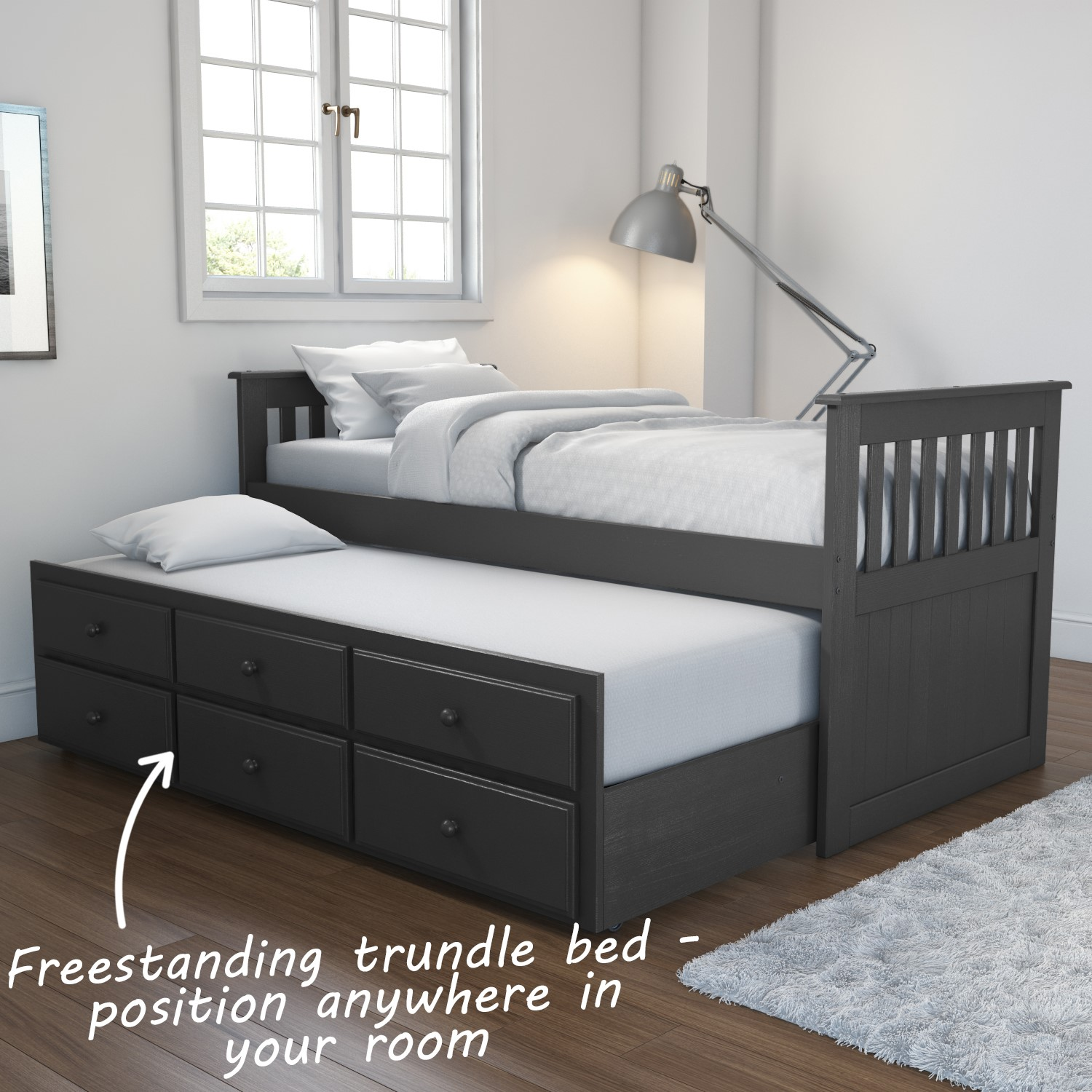 half off 603c3 ff2f6 Oxford Captains Guest Bed with Storage in Dark Grey - Trundle Bed Included