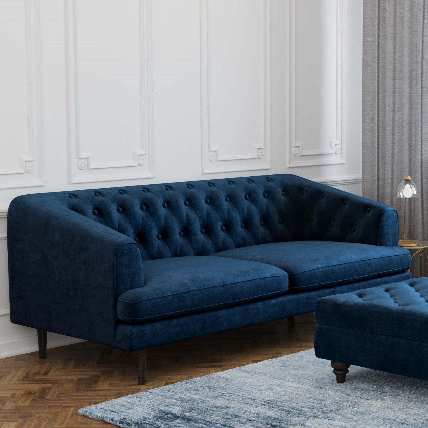 Groovy Grade A1 Inez Navy Sofa In Velvet Chesterfield Seats 3 Gmtry Best Dining Table And Chair Ideas Images Gmtryco