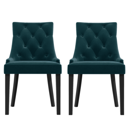 Kaylee Blue Velvet Dining Chairs with Black Legs- Set of 2