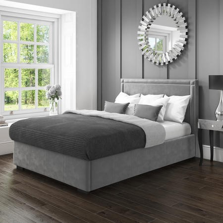 Safina Double Ottoman Bed with Stud Detailing in Grey Velvet