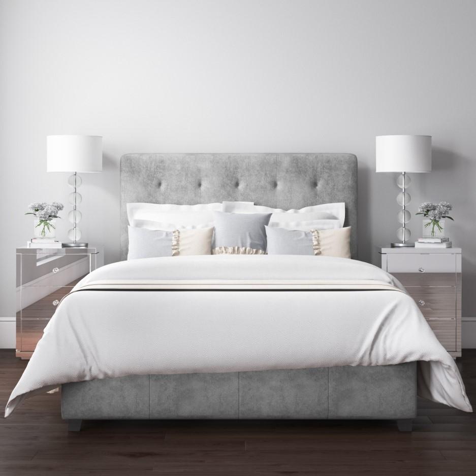 Grade A2 Safina Grey Velvet Double Ottoman Bed