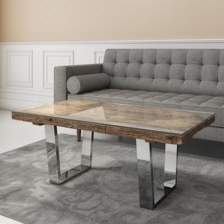 Grayson Industrial Coffee Table in Railway Wood with Glass Top