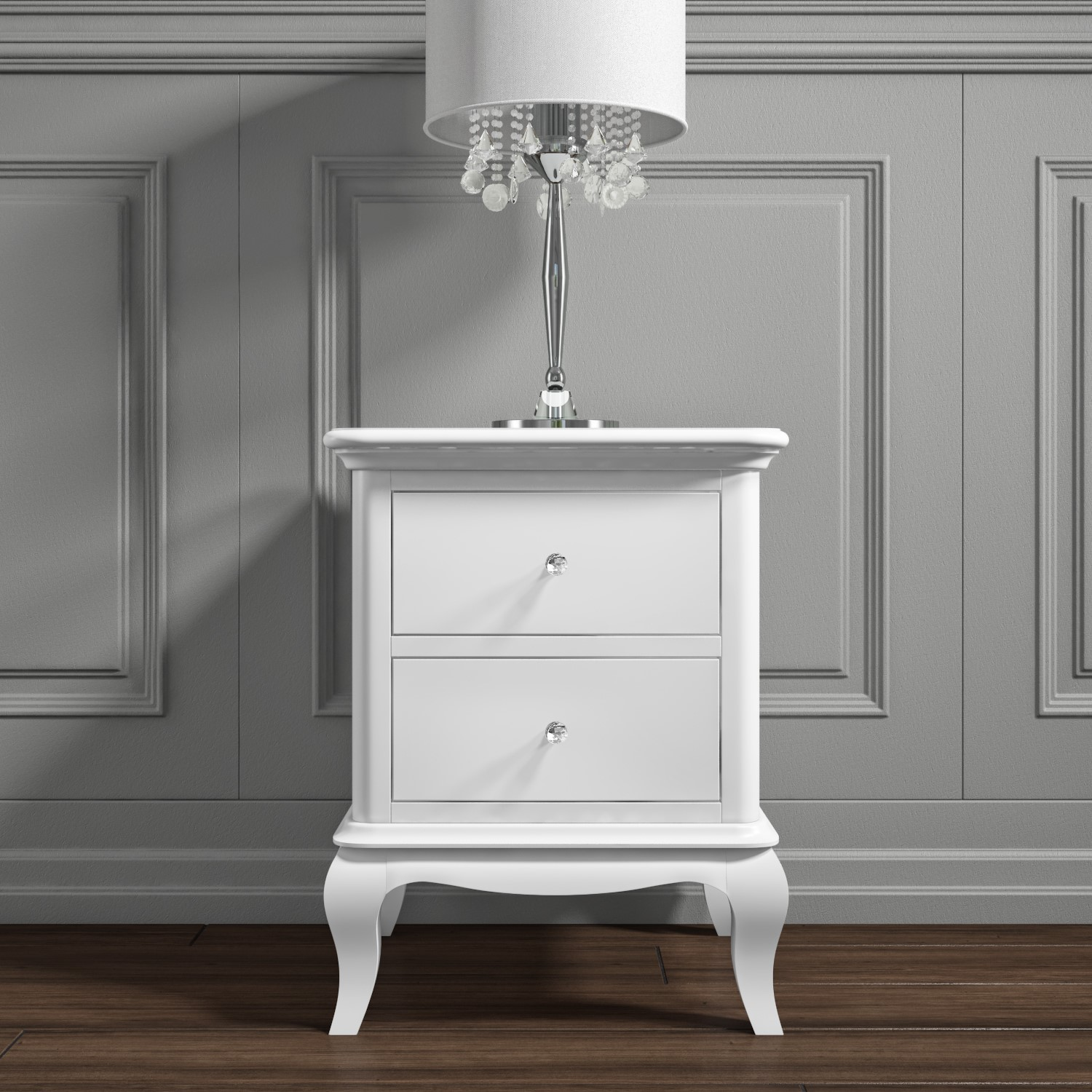 Florentine 2 Drawer French Style Bedside Table In White Furniture123