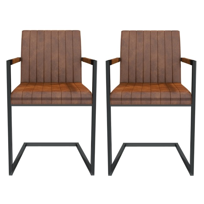 Pair of Brown Faux Leather Industrial Dining Chairs with Arms - Isaac