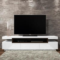Harlow White High Gloss TV Unit with Walnut Detail
