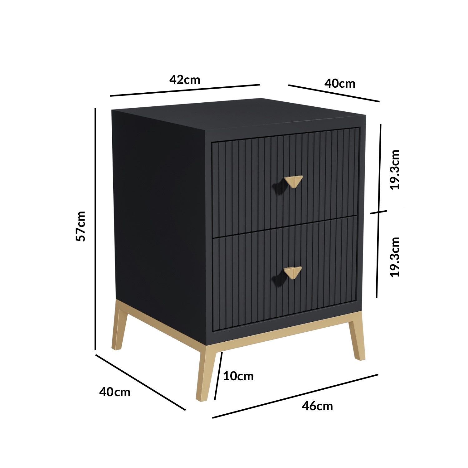 Picture of: Maya Art Deco 2 Drawer Bedside Table In Dark Grey Furniture123