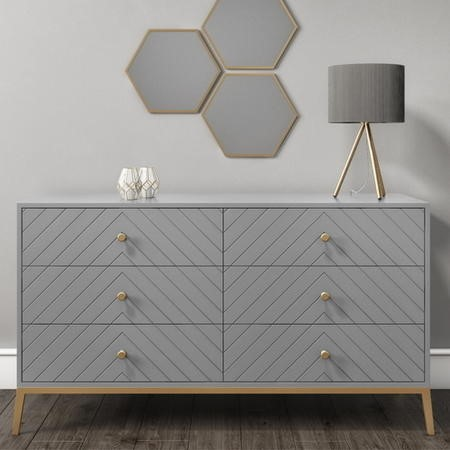 Ezra Chevron Wide Chest of Drawers in Pale Grey