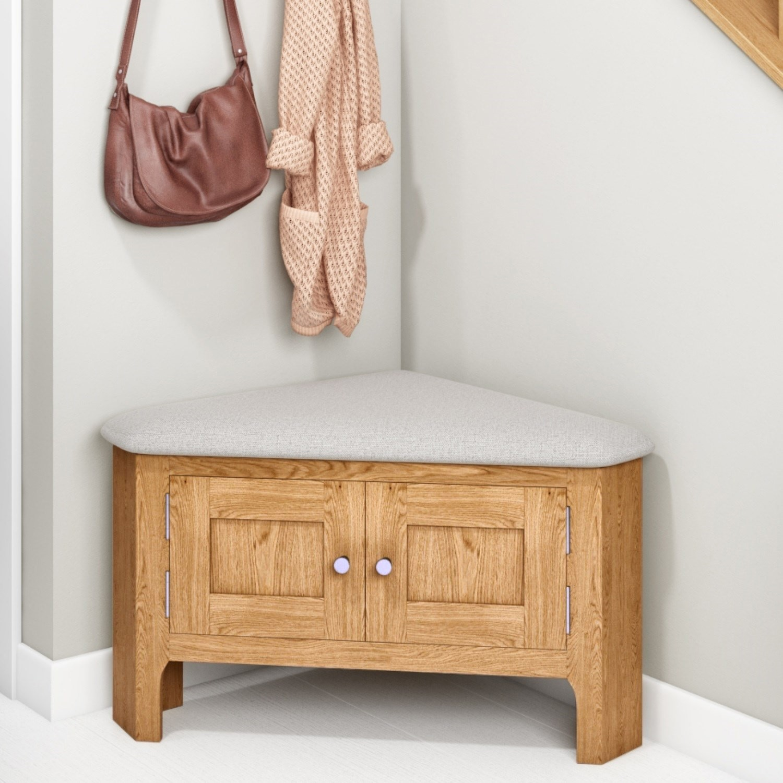 Solid Oak Hallway Storage Bench - Corner - Adeline