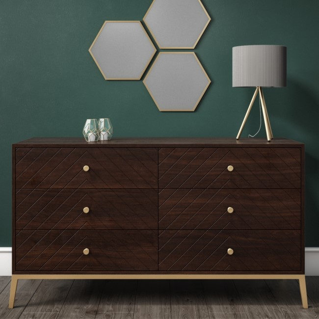 GRADE A1 - Jude Chevron Wide Chest of Drawers in Dark Wood