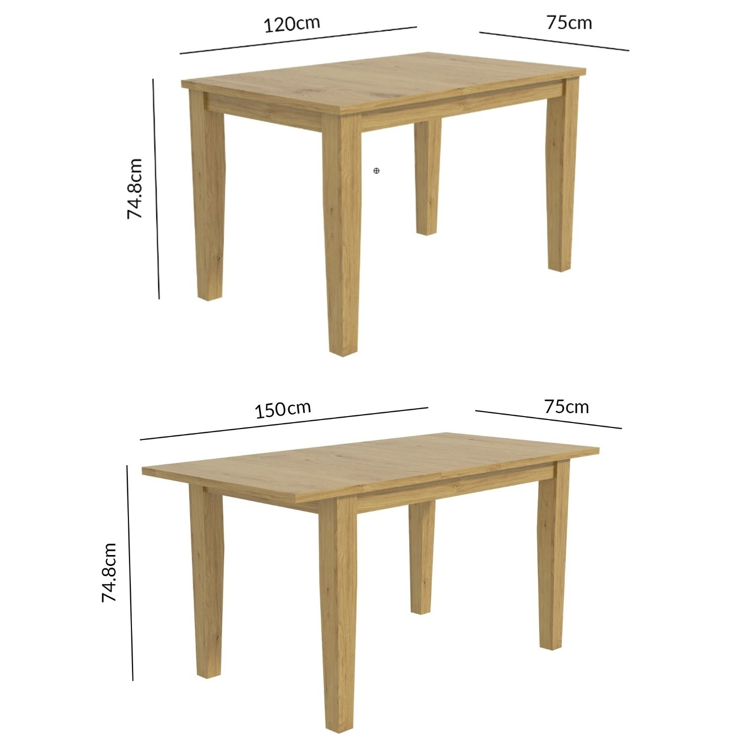 Oak Extendable Dining Table Seats 6 New Haven Furniture123