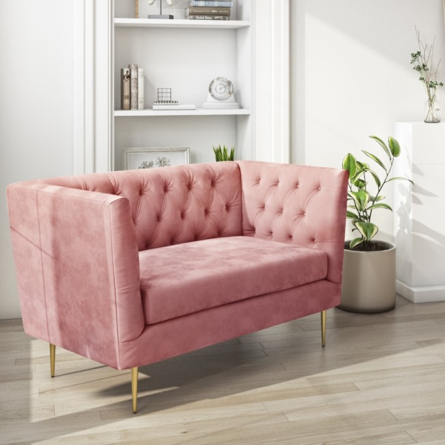 Pink Velvet Loveseat Armchair with Button Detail - Celeste