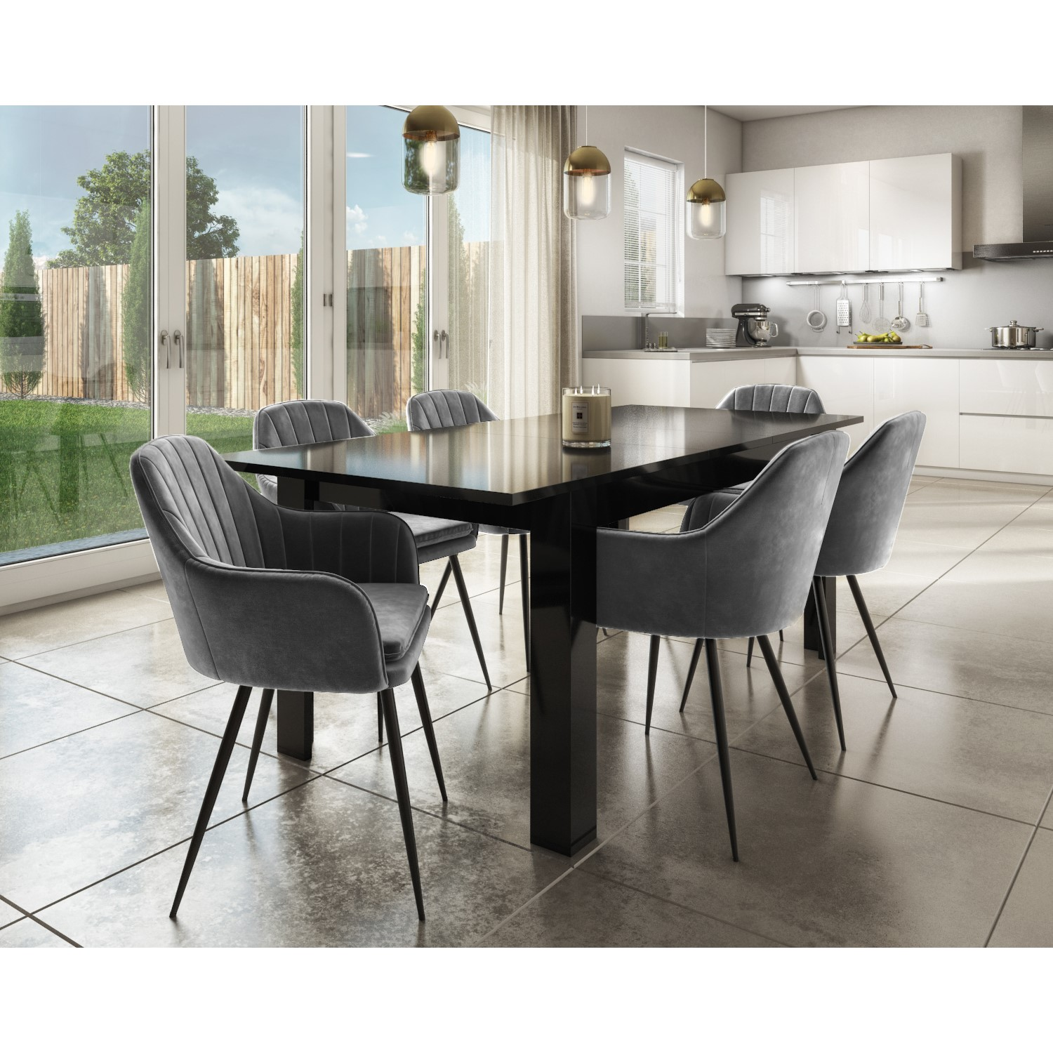 Set Of 2 Grey Velvet Dining Tub Chairs, Dining Room Chairs Uk Black