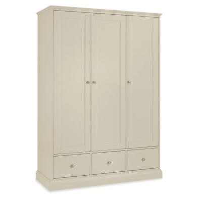 Bentley Designs Ashby Tripple Wardrobe In Cotton White