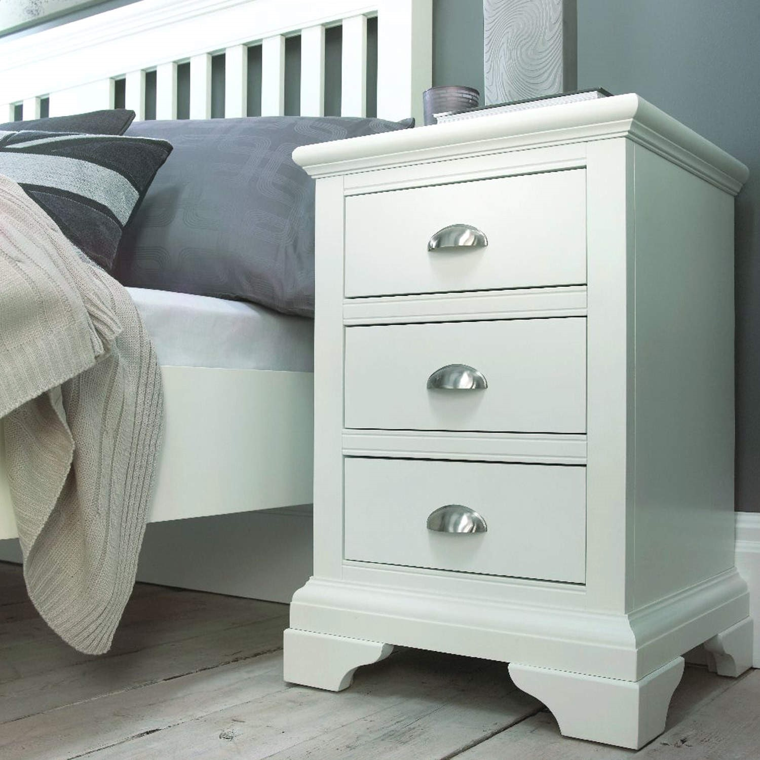 Bentley Designs H&stead White 3 Drawer Bedside Table & Bentley Designs Hampstead White 3 Drawer Bedside Table | Furniture123