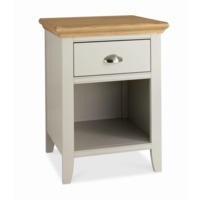 Bentley Designs Hampstead 1 Drawer Bedside Table in Soft Grey and Oak
