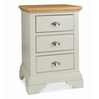 Bentley Designs Hampstead 3 Drawer Bedside Table in Soft Grey and Oak