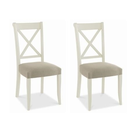 Bentley Designs Pair of Hampstead Cross Back Chairs in Soft Grey