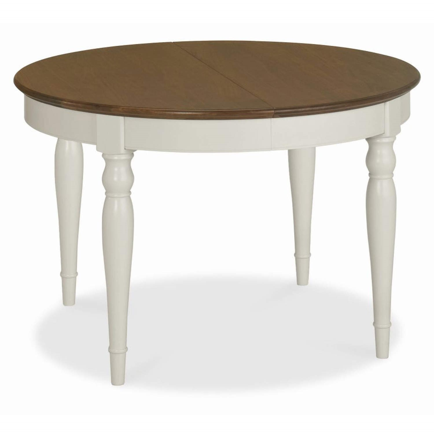 Bentley Designs Hampstead Round Extending Dining Table In Grey/Walnut