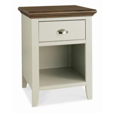 Bentley Designs Hampstead 1 Drawer Bedside Table in Grey and Walnut