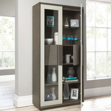 City Weathered Oak and Grey Display Cabinet